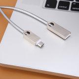 Cable de plata de carga rápido del USB del acero inoxidable para el androide y el tipo C del iPhone
