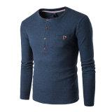 Les hommes à manchon long bouton Slim Fit occasionnel plaine chemisier solide T-shirts