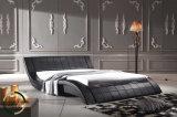 Bastidor de madera curvada modernas camas de cuero italiano