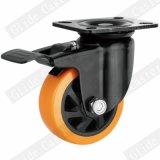 4 인치 주황색 폴리우레탄 바퀴 산업 피마자