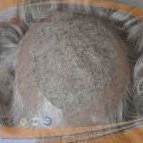 Voller Handtied PU-Rand-graues Farben-Haar-Stück
