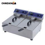 temporizador saudável da temperatura do petróleo profundo elétrico dobro da microplaqueta da frigideira 10L