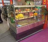 Gabinete do refrigerador do bolo do aço inoxidável do quadrado da qualidade superior para o indicador da pastelaria