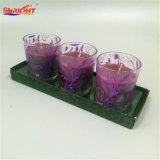 Purpurrotes Abziehbild-Lavendel-Aroma-Glasglas-Kerzen in 3 Satz