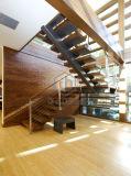 Escala de madera con la escalera del pasamano del acero inoxidable/madera