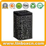 Caja hermética del estaño del metal cuadrado alto para el té del café del azúcar