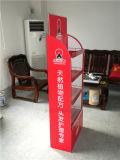 Fußboden-Stellung-Waren-roten Metallausstellungsstand/Zahnstange speichern