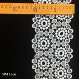 11cmの広いミルクの絹の花のパッチワークのポリエステルによって刺繍されるレースのリボンの白いトリムのレースHmhb1001