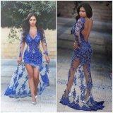 Открытая назад сторона разделяет женщин платьев вечера шнурка Roy длинней втулки голубых