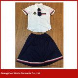 Оптовая белая краткость Sleeves школьная форма рубашки хлопка (U17)