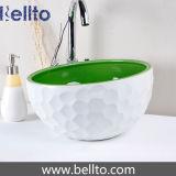 Handmade зеленый и белый керамический тазик с конструкцией гольфа (C1071)