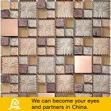 Mistura de mosaico de pedra do mosaico de Vidro dourado com tratamento de metais