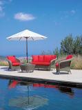 Freizeit-stellte im Freien synthetisches Rattan-Möbel-Sofa mit Osmanen ein
