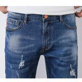 新しい方法オレンジボタン(HDMJ0014-17)が付いている青い壊された洗浄の人のジーンズ