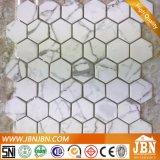 Tegel van het Mozaïek van het Glas van Blanco van Calacatta de Metro netwerk-Opgezette (V671001)