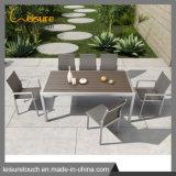 Outdoor mesa de jantar em madeira de plástico de alumínio Definir Patio Mobiliário de Jardim