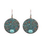 Nouvelle conception de bijoux Vintage grand cercle de métal perlé Turquoise Drop Earrings