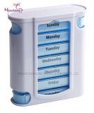 Plástico de calidad alimentaria 28 compartimentos de almacenamiento de la píldora de los casos, Portable Pildorero 11.2*12.7*4.3.