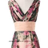 Les femmes sans manches florale de fleur en mousseline robe de soirée robe de bal