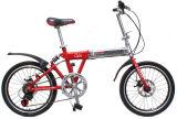 """Do """"trotinette"""" vermelho Foldable da bicicleta da cidade da bicicleta da cidade do freio de disco da forma motocicleta branca de dobramento Shimano"""