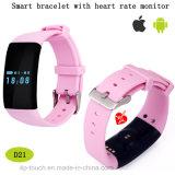 Più nuovo braccialetto astuto impermeabile di Bluetooth con il video di frequenza cardiaca (D21)