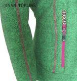 Mulheres Novo estilo Têxtil Polar Fleece Casual Jacket com manga comprida e bolsos internos