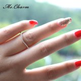 Aneis de noivado de cristal requintados redondos da jóia simples da forma