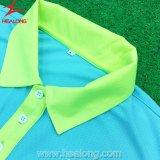 Camicia di polo su ordinazione del Mens di golf di alta qualità di sublimazione Jersey