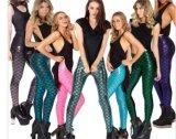 2017 de Hete Kleurrijke Elastische Glanzende Schaal Legging van de Manier voor Vrouwen