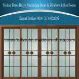 De houten Schuifdeuren van de Brug van de Korrel Aluminium Gebroken met het Decoratieve Comité van het Glas van de Dubbele Verglazing