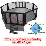 50 x 50 mm 구멍 PVC MMA 감금소 동물원 메시 또는 야구장을%s 입히는 체인 연결 검술하거나 다이아몬드 철사 그물세공
