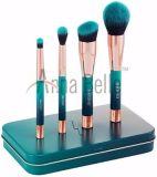 緑色デザイン専門の化粧品4PCSの構成のブラシセット
