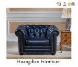 Escuro - sofá secional de Chesterfield 1+2+3 de couro azuis ajustado (HD158)