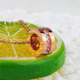 Collana Pendant rotonda di pietra di cristallo dell'acciaio inossidabile dell'oro della Rosa dell'iscrizione