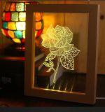 Luz de madeira creativa da noite da ilusão do diodo emissor de luz das lâmpadas do frame 3D com vários projetos para presentes de aniversário do Natal