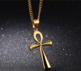regalos cruzados de la joyería de Egipto Anka del acero inoxidable 316L de los collares de conexión del encadenamiento de los hombres pendientes cruzados antiguos de las mujeres