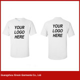 T-shirt branco por atacado do homem do algodão barato 100 da fábrica (R176)