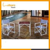 Hôtel moderne en aluminium les plus populaires de pliage Président d'accueil avec une bande bleue Jardin meubles de patio extérieur imperméable canapé