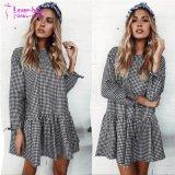 Robe d'usager de chemise de robe d'impression de plaid de réseau d'automne de femmes longue