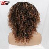 Фигурные Kinky Dlme Омбре синтетические волосы Wig коричневого цвета с помощью ударов