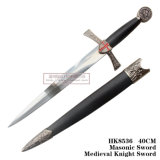 Decoração medieval 40cm HK8536 da HOME da espada do cavaleiro da espada maçónica