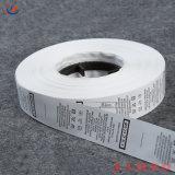 Custom No Resistente cinta autoadhesiva impresión de etiqueta de cuidado de la lavado