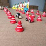 Brinquedo de madeira da instrução das crianças dos cones da segurança dos sinais de tráfego da estrada