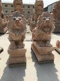 Statue antiche del leone di Wiildlife della scultura del marmo africano di pietra naturale Handmade del granito