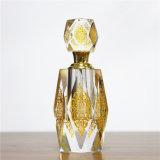 Frasco de petróleo de cristal do perfume da capacidade grande com projeto decorativo da flor amarela