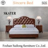 Amerikanische Art-Leder-Bett-Schlafzimmer-Möbel B006