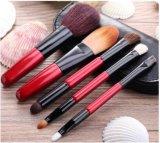 Spazzola di nylon rossa personalizzata di trucco dei capelli della maniglia di legno 5PCS