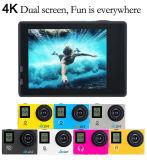 O ecrã duplo 4K impermeável ao ar livre 30metros câmara desportos de acção