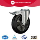 6 des Aluminiumkern-Bolzenloch-Europa-Zoll Typ-industrielles Fußrollen-Gummi-Rad