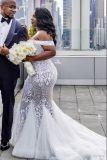 Sirena degli abiti nuziali del merletto fuori dalla spalla più il vestito da cerimonia nuziale di formato R3030